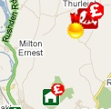 Local food map with rosette & '£' flags on a butcher's icon
