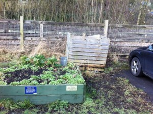 Raised herb bed at Todmorden Railway Station car park