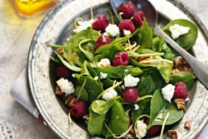 Spinach, Raspberry and Feta Salad