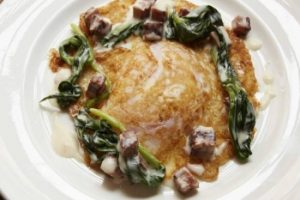 Crispy goose egg with creamed bacon and wild garlic