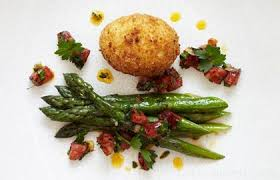 Asparagus with Crispy Duck Egg and Chorizo