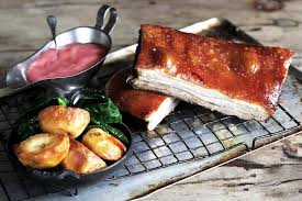 Belly of Pork with Rhubarb Chutney