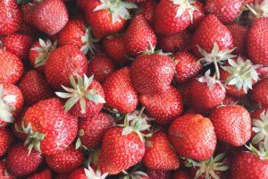Polka dot and strawberry cake